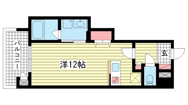 物件番号: 1025882312 プレジール三宮Ⅲ  神戸市中央区琴ノ緒町1丁目 1R マンション 間取り図