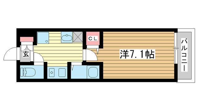 物件番号: 1025882316 ISOGAMI EAST  神戸市中央区磯上通3丁目 1K マンション 間取り図