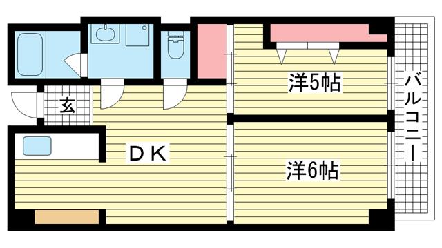 物件番号: 1025882324 グランドハイツ熊内台  神戸市中央区上筒井通7丁目 2DK マンション 間取り図