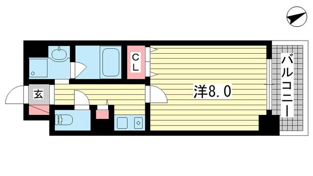 物件番号: 1025882332 アミーグランコート三宮  神戸市中央区浜辺通3丁目 1K マンション 間取り図