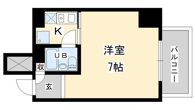 物件番号: 1025882337 ライオンズマンション神戸西元町  神戸市中央区北長狭通8丁目 1K マンション 間取り図