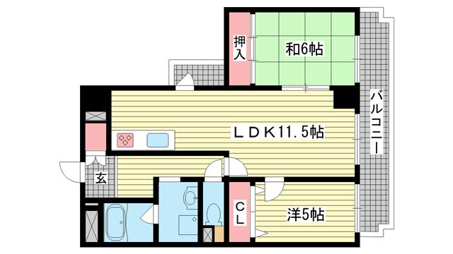 物件番号: 1025882348 ミリオンベル神戸  神戸市兵庫区佐比江町 2LDK マンション 間取り図