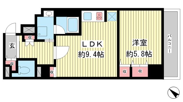 物件番号: 1025882351 ライオンズマンション神戸元町第5  神戸市中央区元町通5丁目 1DK マンション 間取り図