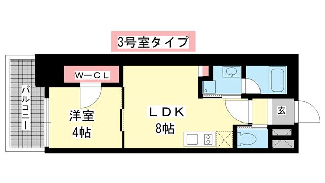 物件番号: 1025882430 ブエナビスタ神戸駅前  神戸市兵庫区西多聞通1丁目 1LDK マンション 間取り図