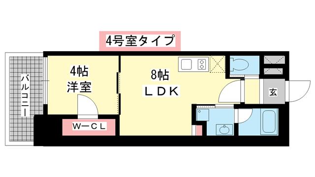 物件番号: 1025882432 ブエナビスタ神戸駅前  神戸市兵庫区西多聞通1丁目 1LDK マンション 間取り図