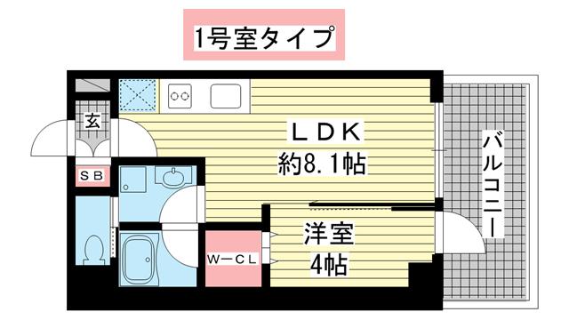 物件番号: 1025882441 ブエナビスタ神戸駅前  神戸市兵庫区西多聞通1丁目 1LDK マンション 間取り図