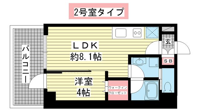 物件番号: 1025882442 ブエナビスタ神戸駅前  神戸市兵庫区西多聞通1丁目 1LDK マンション 間取り図