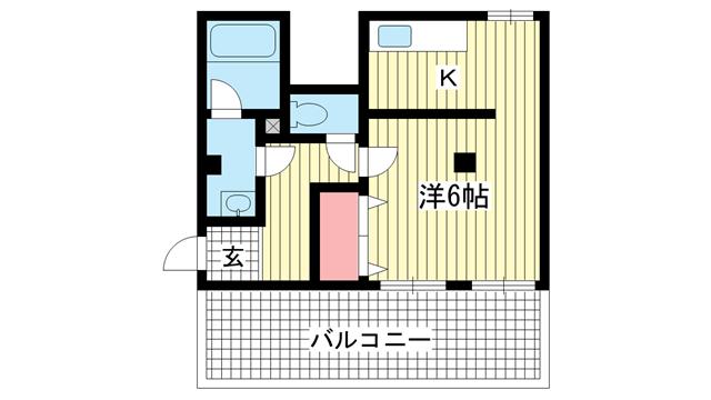 物件番号: 1025882453 永光ビルディング熊内橋  神戸市中央区熊内橋通3丁目 1K マンション 間取り図