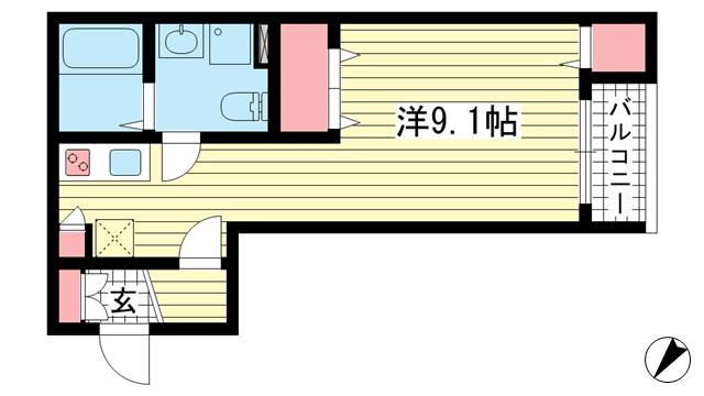 物件番号: 1025882455 サンクラッソ神戸山手  神戸市中央区下山手通9丁目 1R マンション 間取り図
