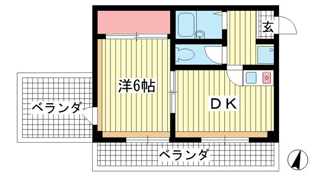 物件番号: 1025882457 エクセルビュー神戸  神戸市中央区楠町2丁目 1DK マンション 間取り図