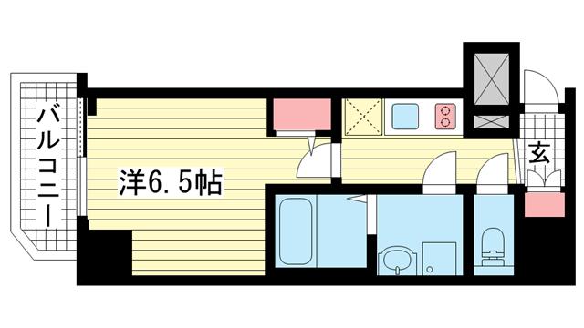 物件番号: 1025882477 ファーストフィオーレ神戸駅前  神戸市中央区相生町5丁目 1K マンション 間取り図