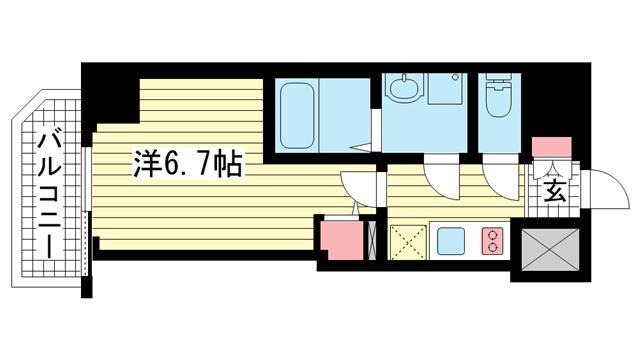 物件番号: 1025882495 ファーストフィオーレ神戸駅前  神戸市中央区相生町5丁目 1K マンション 間取り図