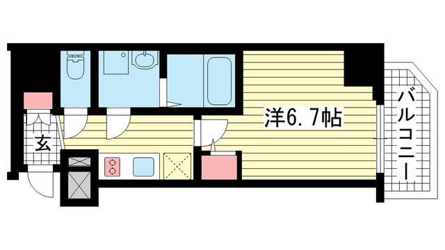 物件番号: 1025882498 ファーストフィオーレ神戸駅前  神戸市中央区相生町5丁目 1K マンション 間取り図