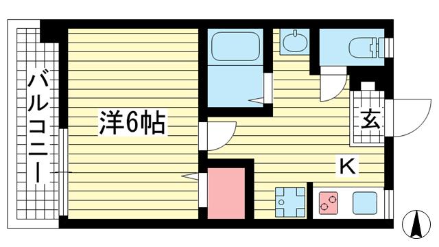 物件番号: 1025882513 グリーンマンション  神戸市中央区山本通2丁目 1K マンション 間取り図