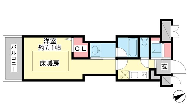 物件番号: 1025882516 J-cube KOBE  神戸市中央区楠町6丁目 1K マンション 間取り図