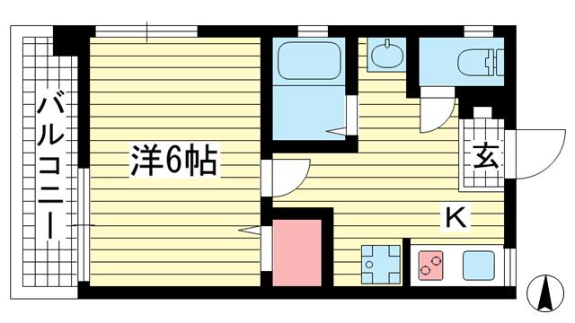 物件番号: 1025882517 グリーンマンション  神戸市中央区山本通2丁目 1K マンション 間取り図