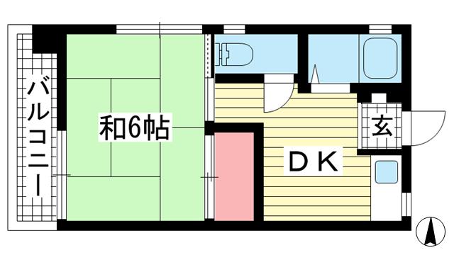 物件番号: 1025882520 グリーンマンション  神戸市中央区山本通2丁目 1DK マンション 間取り図