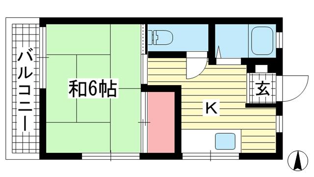 物件番号: 1025882521 グリーンマンション  神戸市中央区山本通2丁目 1DK マンション 間取り図