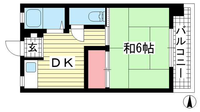 物件番号: 1025882522 グリーンマンション  神戸市中央区山本通2丁目 1DK マンション 間取り図