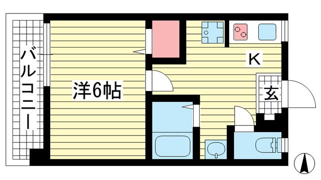 物件番号: 1025882525 グリーンマンション  神戸市中央区山本通2丁目 1K マンション 間取り図