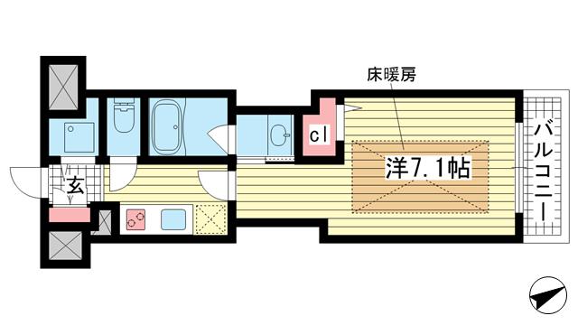 物件番号: 1025882526 J-cube KOBE  神戸市中央区楠町6丁目 1K マンション 間取り図