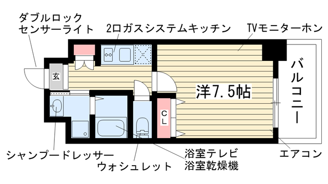 物件番号: 1025882528 アドバンス神戸グルーブ  神戸市中央区生田町3丁目 1K マンション 間取り図