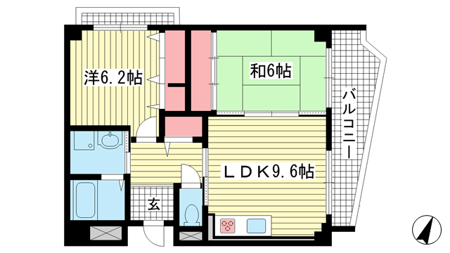 物件番号: 1025882540 メゾン・ドュウ  神戸市中央区中山手通2丁目 2LDK マンション 間取り図