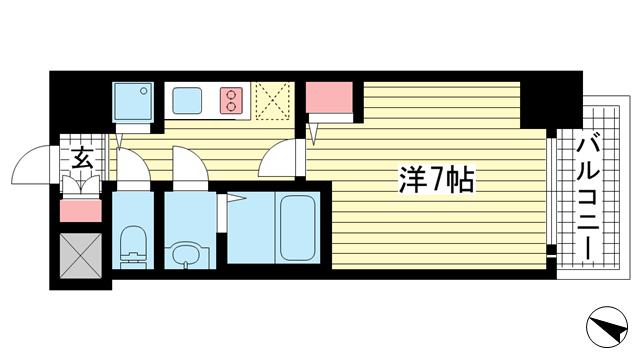 物件番号: 1025882577 プレサンス三宮ディライト  神戸市中央区御幸通3丁目 1K マンション 間取り図