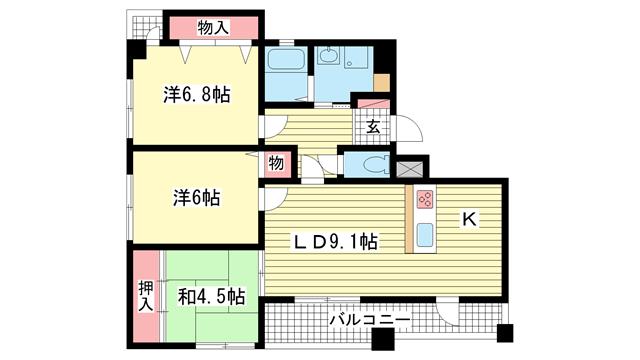 物件番号: 1025882579 VIVACE長田  神戸市長田区若松町8丁目 3LDK マンション 間取り図
