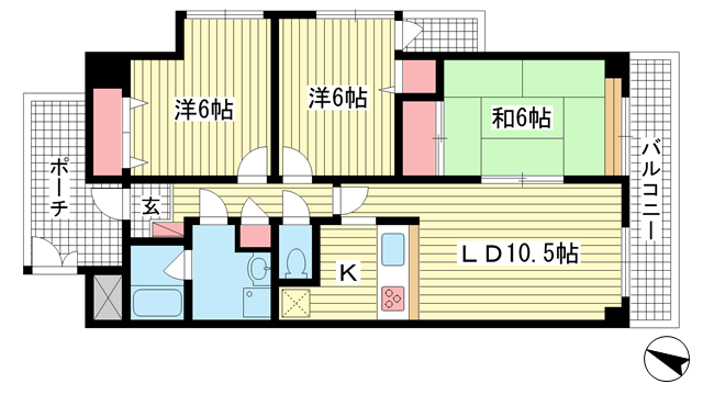 物件番号: 1025882581 ラポール須磨  神戸市須磨区磯馴町1丁目 3LDK マンション 間取り図