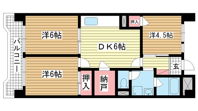 物件番号: 1025882584 ビレッジハウス港島タワー  神戸市中央区港島中町2丁目 3DK マンション 間取り図