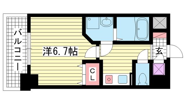 物件番号: 1025882585 アスヴェル神戸元町  神戸市中央区元町通3丁目 1K マンション 間取り図