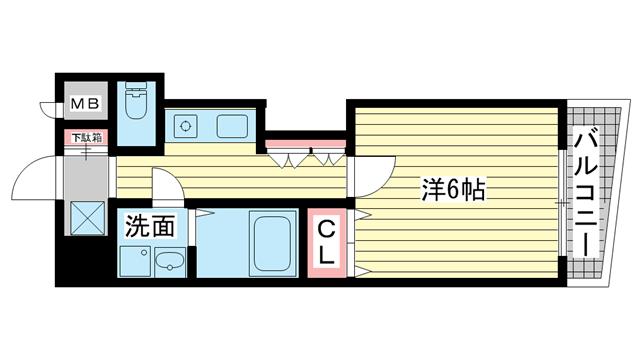 物件番号: 1025882586 エステムコート神戸西  神戸市兵庫区浜崎通 1K マンション 間取り図