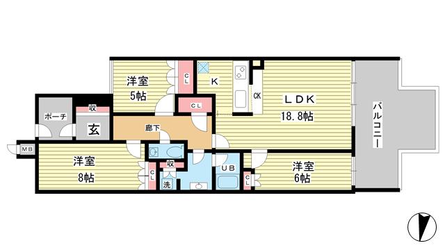 物件番号: 1025882589 プラウド六甲赤松町  神戸市灘区赤松町2丁目 3LDK マンション 間取り図