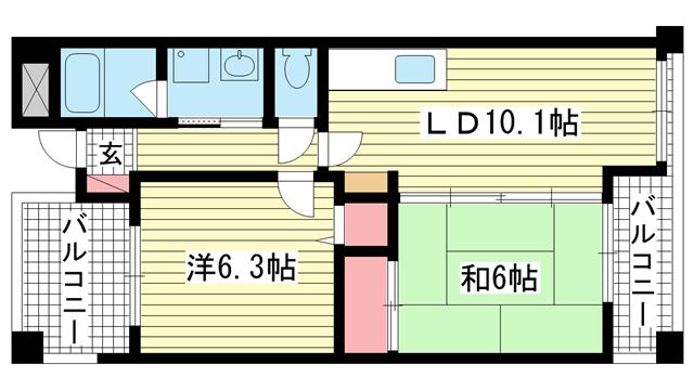 物件番号: 1025882624 メロディ三宮東  神戸市中央区神若通3丁目 2LDK マンション 間取り図