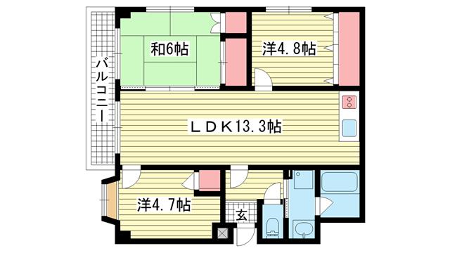 物件番号: 1025882629 グランディア天城通り  神戸市灘区天城通6丁目 3LDK マンション 間取り図