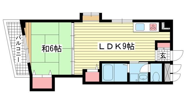 物件番号: 1025882630 グランディア六甲将軍通  神戸市灘区将軍通2丁目 1LDK マンション 間取り図