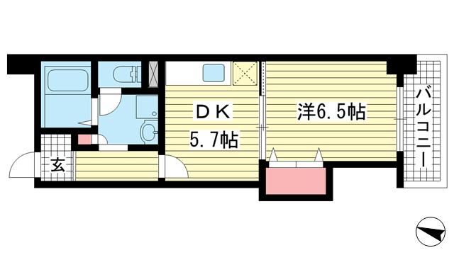 物件番号: 1025882632 アーバンコート兵庫  神戸市兵庫区下沢通2丁目 1DK マンション 間取り図