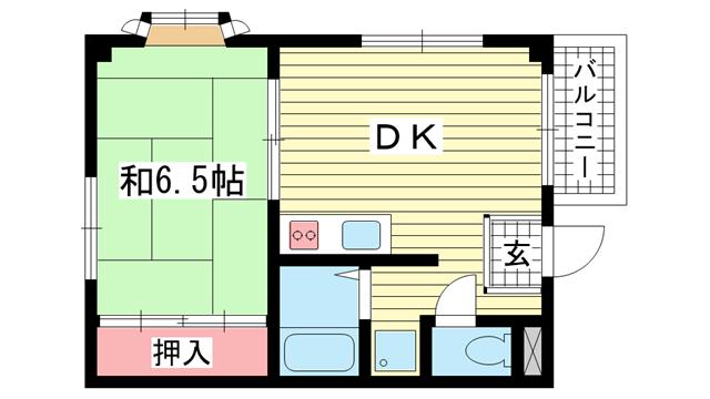 物件番号: 1025882636 アクエルド諏訪山  神戸市中央区中山手通4丁目 1DK マンション 間取り図