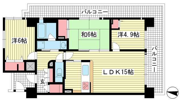 物件番号: 1025882637 レジオン王子公園エルコート  神戸市灘区福住通4丁目 3LDK マンション 間取り図
