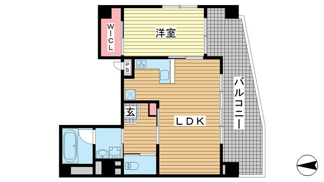 物件番号: 1025882663 アルファ神戸元町  神戸市中央区下山手通7丁目 1LDK マンション 間取り図