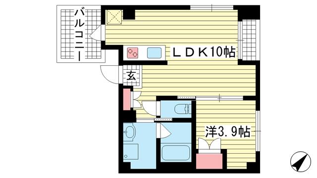 物件番号: 1025882665 SDグランツ神戸西元町  神戸市中央区北長狭通7丁目 1LDK マンション 間取り図