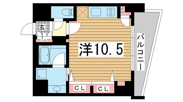 物件番号: 1025882667 KAISEI神戸海岸通第2  神戸市中央区海岸通2丁目 1R マンション 間取り図