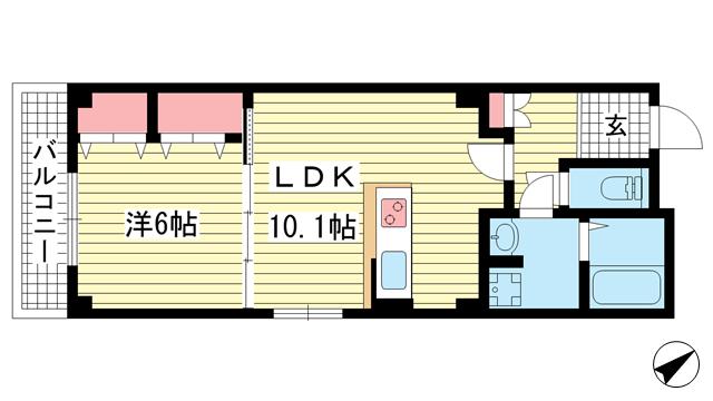 物件番号: 1025882675 SDグランツ三川口  神戸市兵庫区三川口町2丁目 1LDK マンション 間取り図