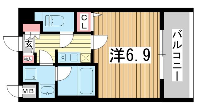 物件番号: 1025882678 KAISEI神戸海岸通  神戸市中央区栄町通4丁目 1K マンション 間取り図