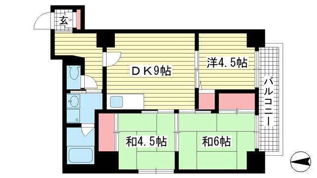 物件番号: 1025882680 三宮パークハイム  神戸市中央区二宮町3丁目 3DK マンション 間取り図