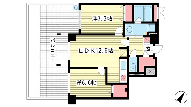 物件番号: 1025882703 アパタワーズ神戸三宮  神戸市中央区磯辺通4丁目 2LDK マンション 間取り図