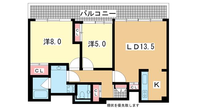 物件番号: 1025882704 イーストコート2番街  神戸市東灘区向洋町中1丁目 2LDK マンション 間取り図