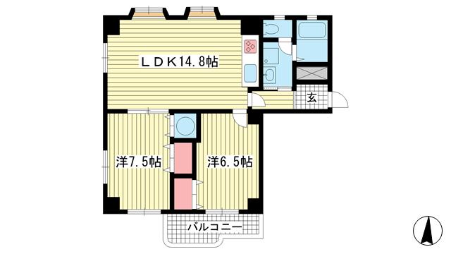物件番号: 1025882713 元町アーバンライフ  神戸市中央区下山手通3丁目 2LDK マンション 間取り図