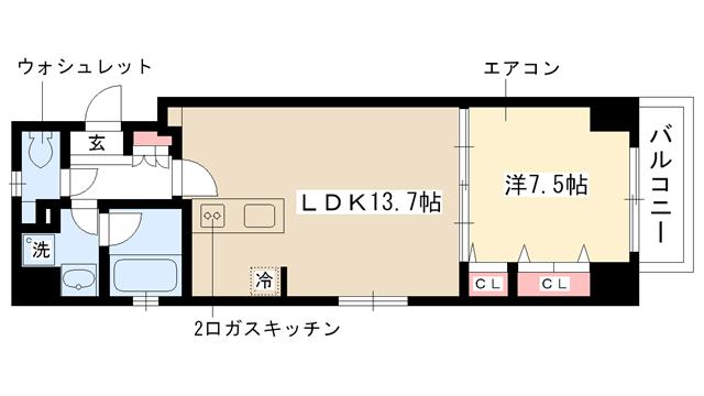 物件番号: 1025882714 レジオン・ドヌール  神戸市灘区中郷町4丁目 1LDK マンション 間取り図